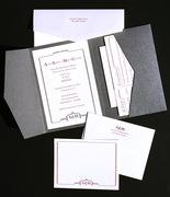 South Beach Letterpress Wedding Invitation Design