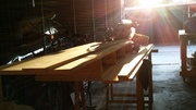 Sunset over the mitre saw bench