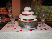 Red Ribbon Accented Wedding Cake