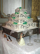 Flowers and Ribbon Wedding Cake