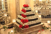 Red Rose Accented Wedding Cake