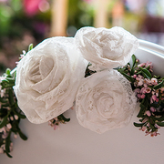 Lace Rolled Fabric Flowers