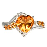 1.45 Ctr Citrine And 0.33 Carats White Topaz Silver Ring