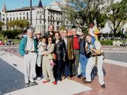 Plaça de Catalunya in Barcelona with friends and family