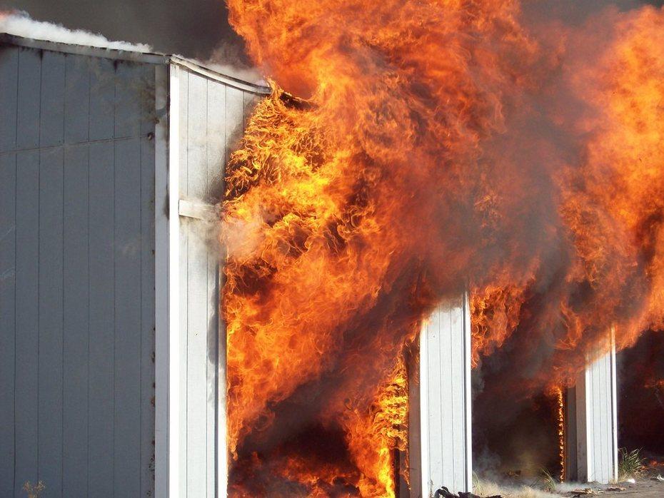 a detached garage from live burn