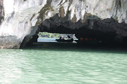 Exploring caves in Halong Bay by kayaking!
