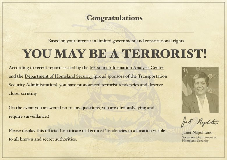 You May Be A Terrorist - A343