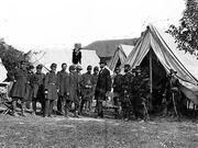 Lincoln visits General McClellan after Battle of Antietam