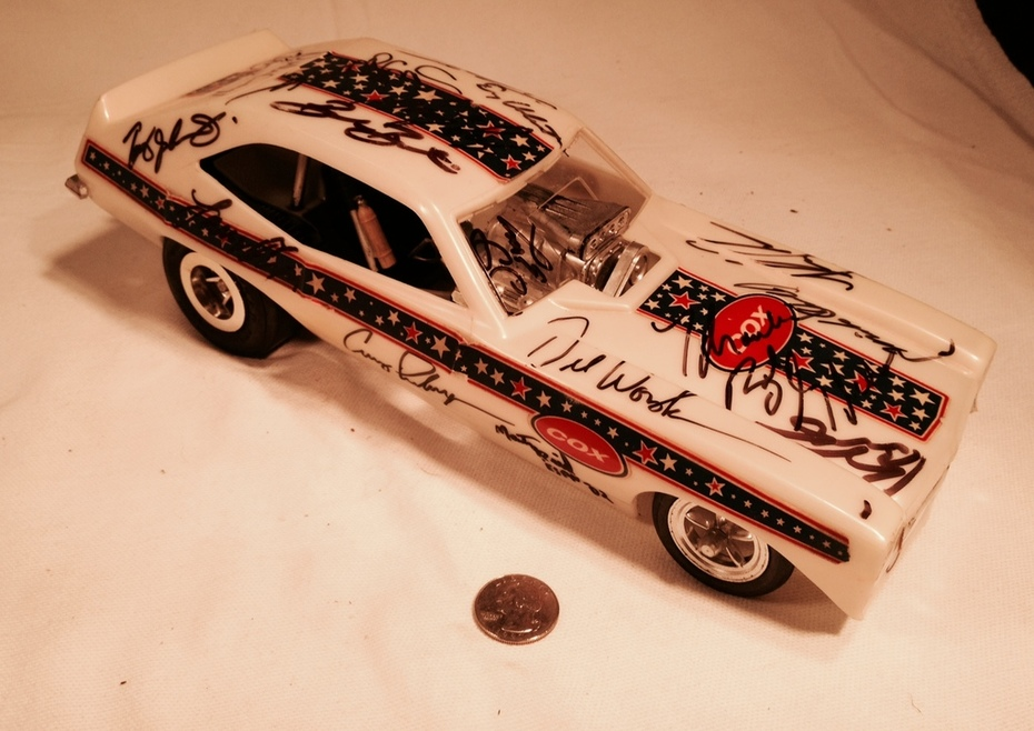 Cox 1960's gas Powered Tether car signed by NHRA Drivers