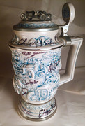 NASCAR, INDY, DANICA PATRICK, signing #33-17, 1989, AVON, Auto Racing, Beer Stein, that has been signed by 16 other drivers.