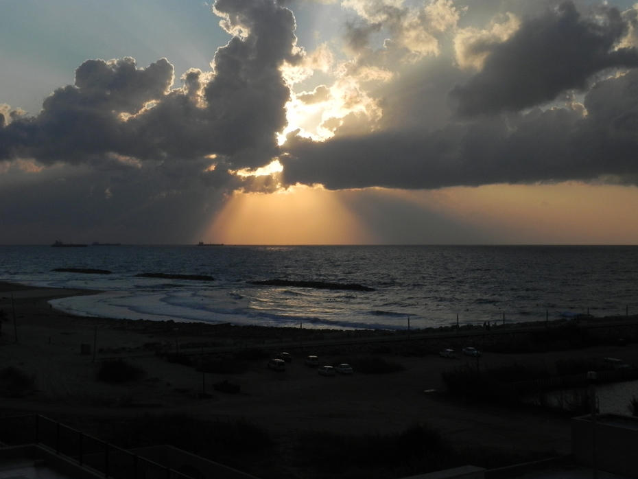 Dramatic scene over the ocean, Ashqelon, Israel