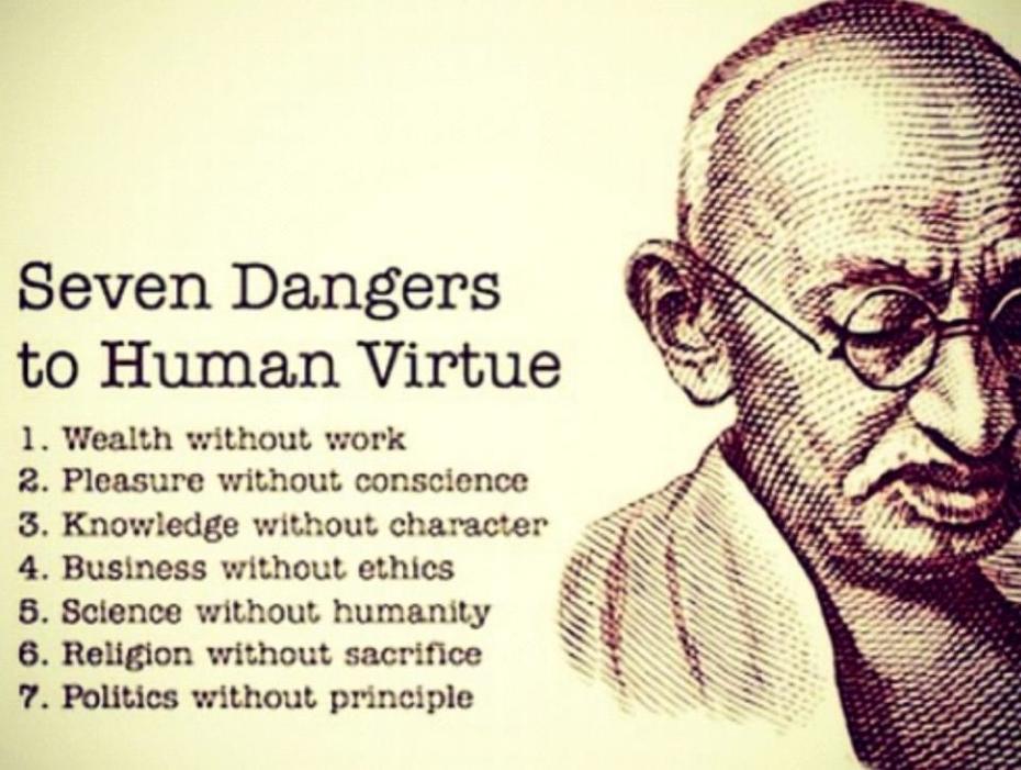 seven dangers tu human vertues
