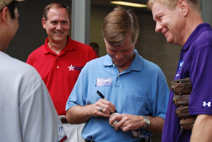 McDonnell autographed a ball for some fans