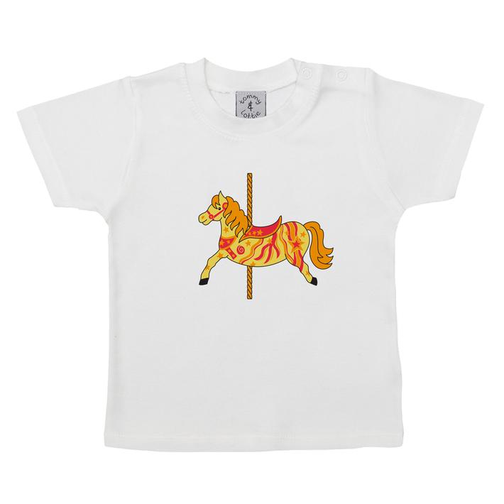 British Carousel Horse Short Sleeve Baby T Shirt - front