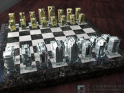 Metal-in-glass chess set on granite chess board.