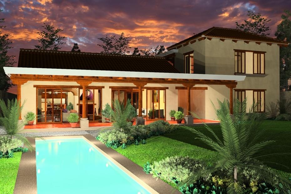 House near Antigua Guatemala, lawn facade.