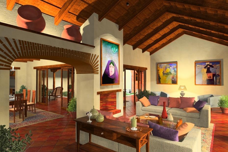 House near Antigua Guatemala, view of living room.