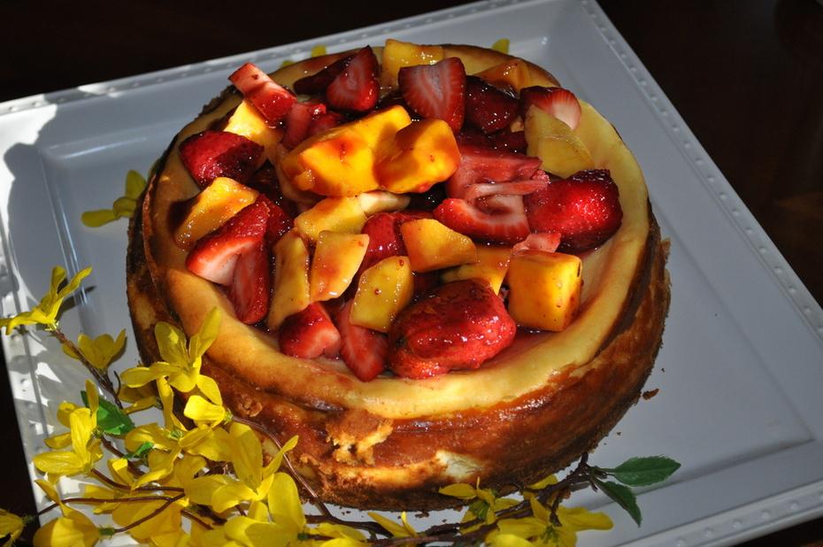 Fruit topped homemade cheesecake