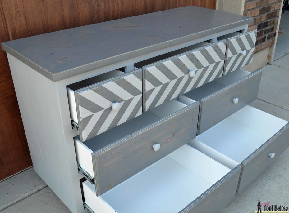 7 drawer dresser-open drawers