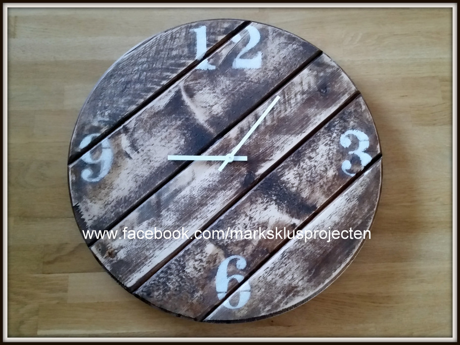 Clock made of scaffolding wood