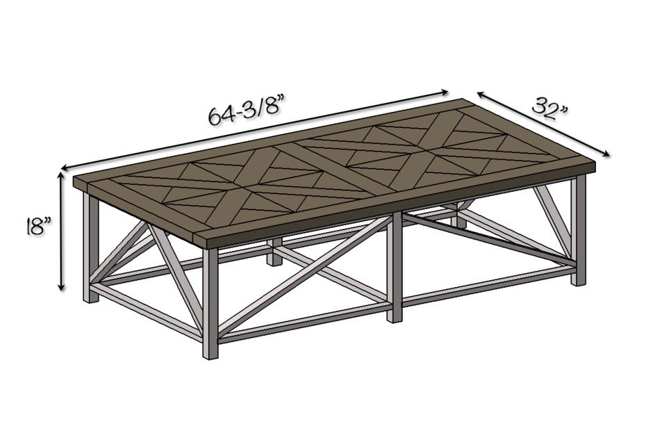DIY Parquet X-Brace Coffee Table - Dimensions