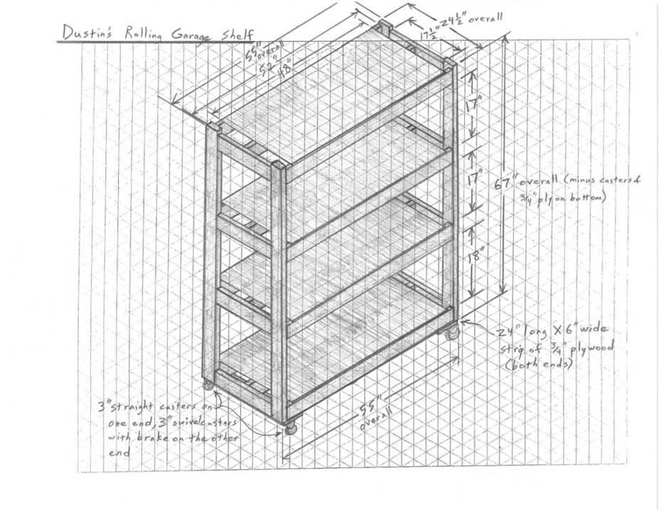 Dustins Rolling Garage Shelf Sketch