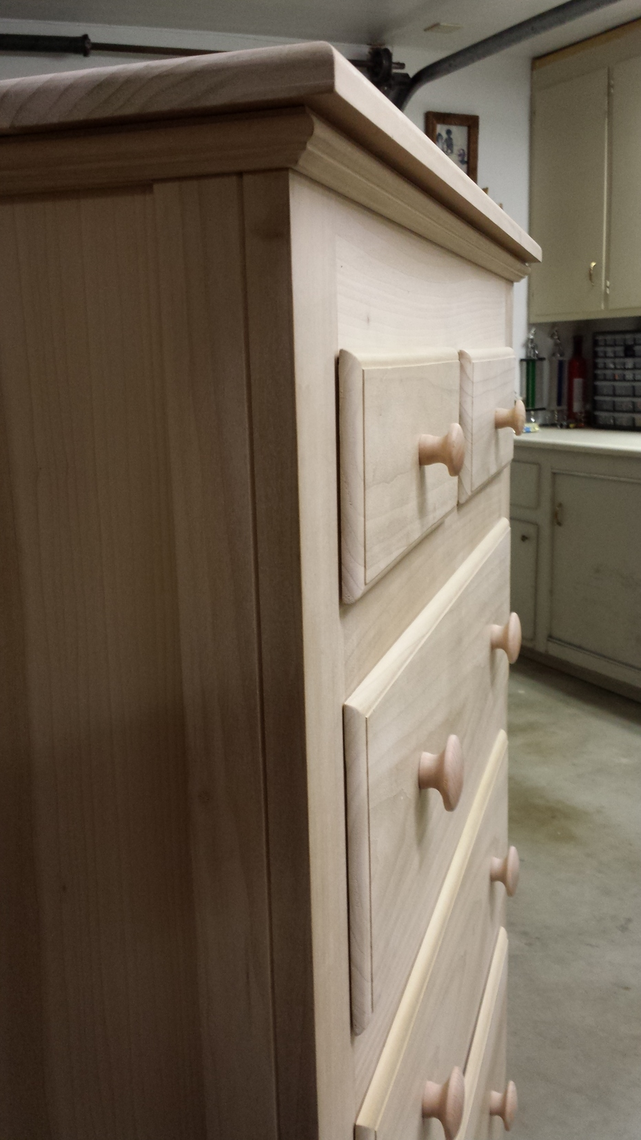 Side view of finished dresser.