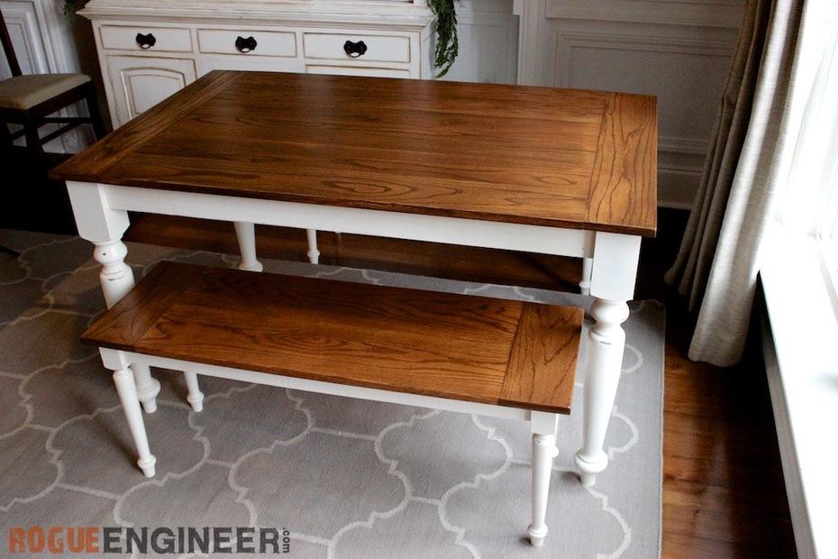 DIY Elegant Oak Farmhouse Table | Free Plans