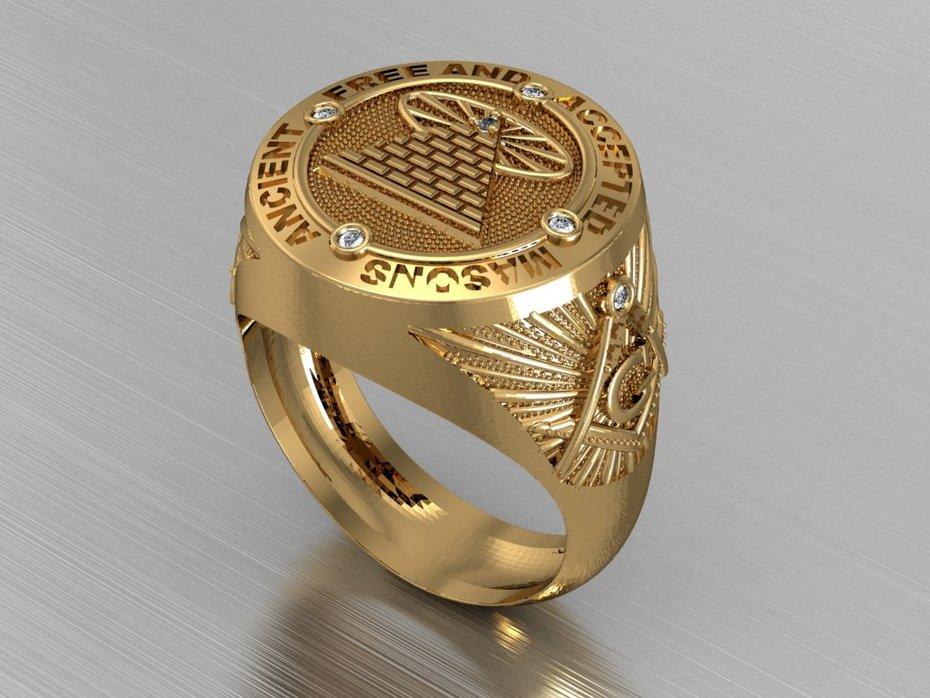 anel Maçonaria 3D