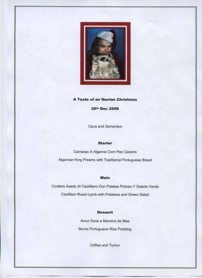 iberian Christmas Menu 20.12.09