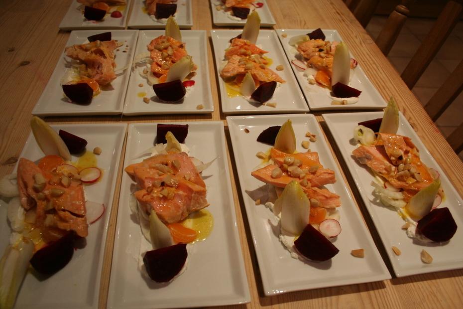 Hickory & Tea smoked salmon with winter salad