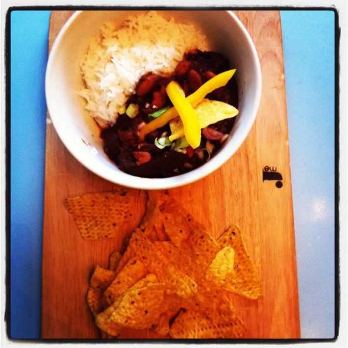 Steak Chilli with Cardamon Rice and Mango