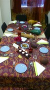 One of the six tables set
