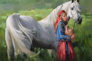 cavalo branco - mulher-campo