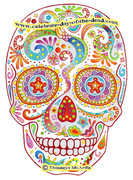 Psychedelic Sugar Skull Drawing