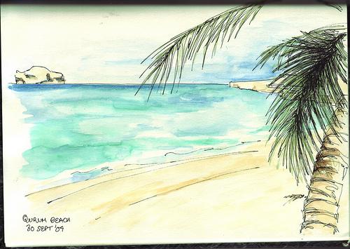 Qurum beach- pen & watercolour wash