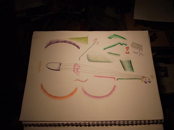 Bass Player Pencil Crayon