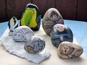 Wild Animals Painted on Rocks