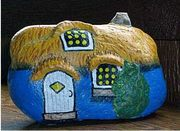 Bright Blue Painted Rock Gnome Home