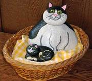 Stylized Cat and Kitten Painted Rocks