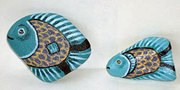 Two Blue Fish Painted Rocks