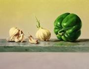 Bell Pepper with garlic still life