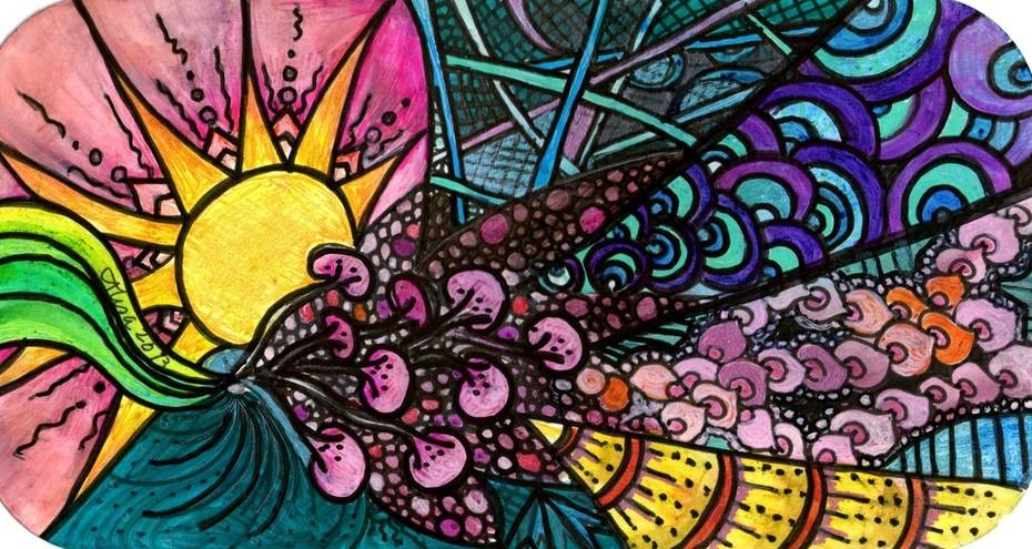 Random Tangles - Sunny day colours 1