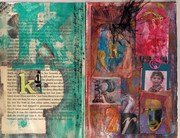 Altered book spread using letters