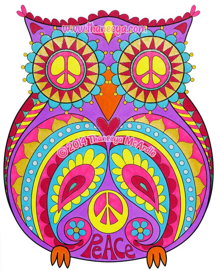 Peace Owl Art by Thaneeya McArdle