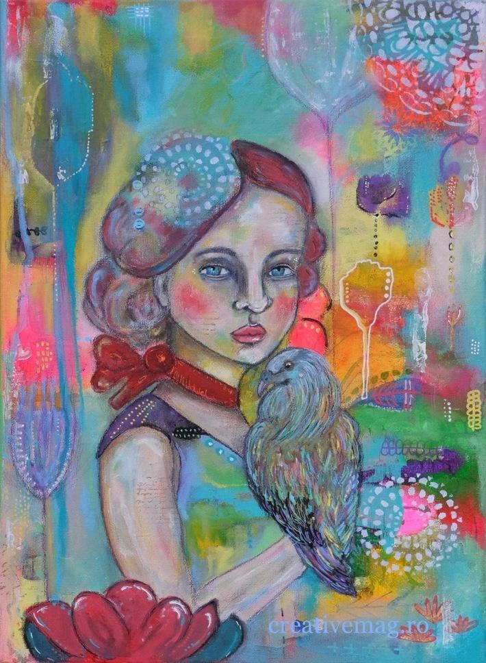 Girl with Nicobar Bird