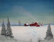 Snow covered farm