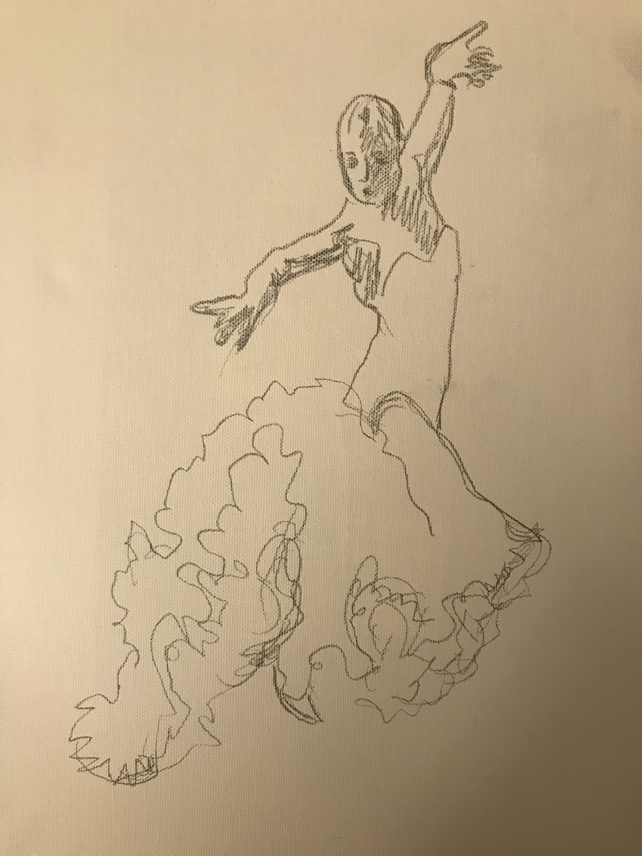 Flamenco sketch - painting to follow