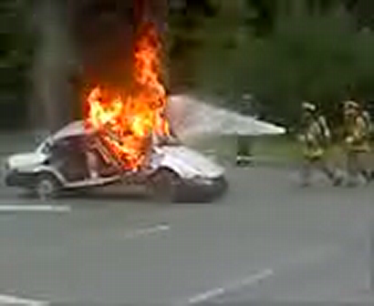 fire and police exploring carfire demo