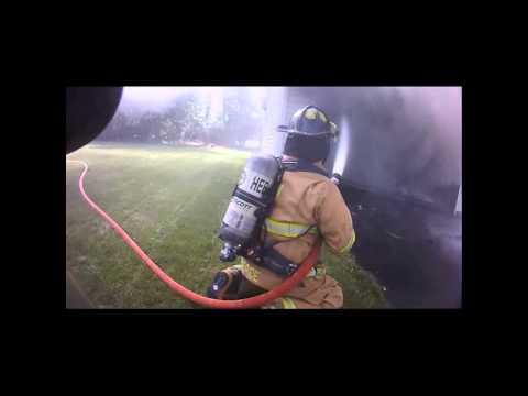 Helmet Cam: Garage Fire - Hebron Fire Department, OH